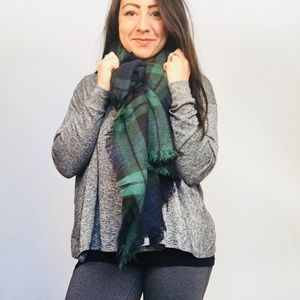 Plaid blue and green long scarf EUC